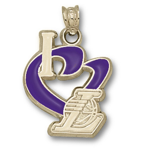 14kt Gold 3/4in I Heart the Lakers Enamel Pendant