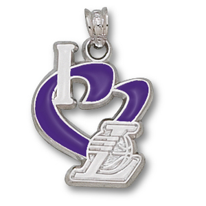 Sterling Silver 3/4in I Heart the Lakers Enamel Pendant