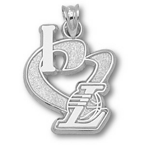 Sterling Silver 3/4in I Heart the Lakers Pendant