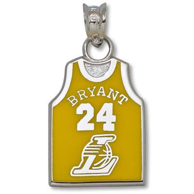 Sterling Silver 5/8in Kobe Bryant Jersey Enamel Pendant