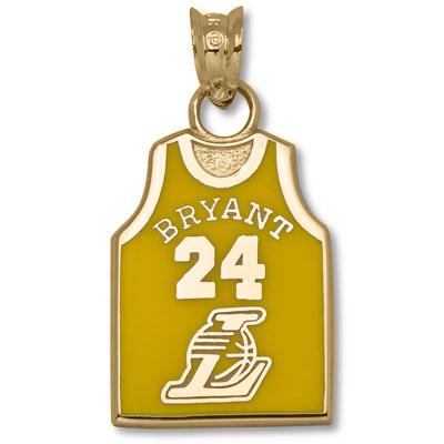 10kt Gold 5/8in Kobe Bryant Jersey Enamel Pendant