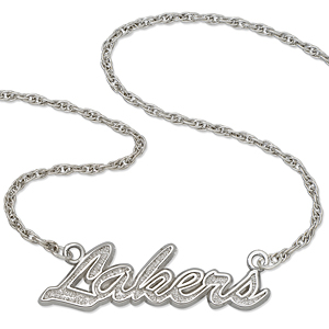 Sterling Silver 18in Los Angeles Lakers Script Necklace