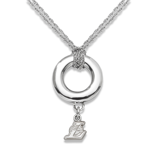 Sterling Silver 16in Los Angeles Lakers Halo Necklace