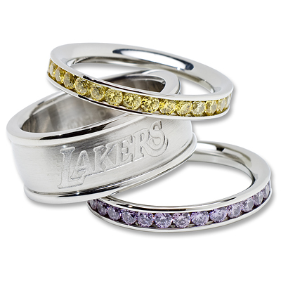 Los Angeles Lakers Team Logo Crystal Stacked Ring Set