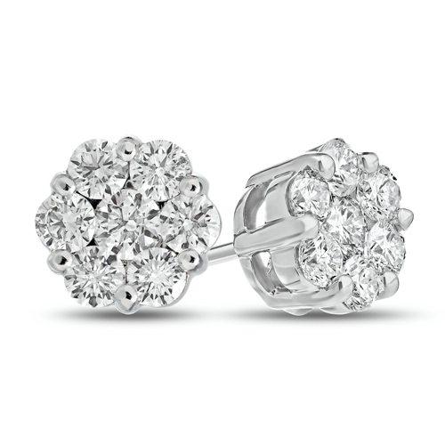 14kt White Gold .50 ct tw Diamond Flower Cluster Stud Earrings
