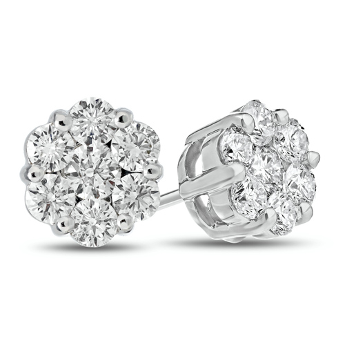 14kt White Gold .75 ct tw Diamond Flower Cluster Stud Earrings
