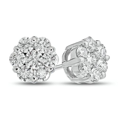 14kt White Gold 1 ct tw Diamond Flower Cluster Stud Earrings