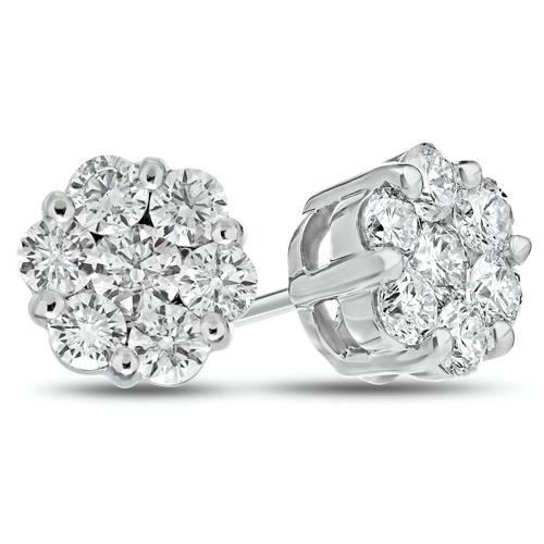 14kt White Gold 2 ct tw Diamond Flower Cluster Stud Earrings