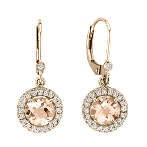 14kt Rose Gold 1.5 ct tw Morganite Dangle Earrings with .50 ct Diamond Accents