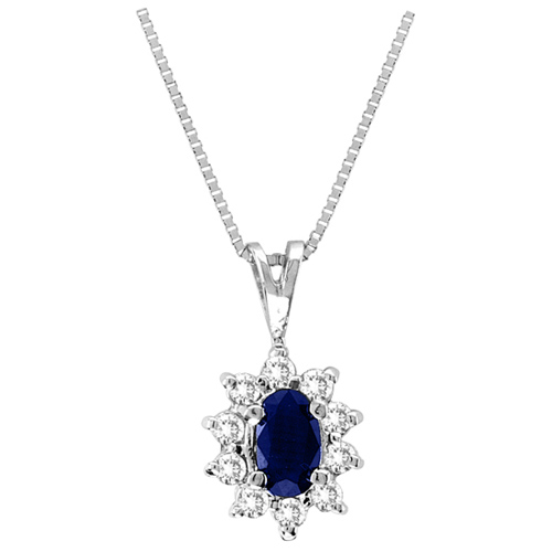 14kt White Gold 1/5 ct Sapphire Necklace with Diamonds