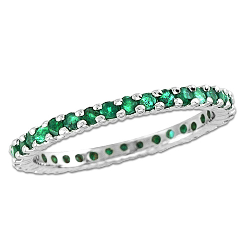 14kt White Gold .75 ct tw Emerald Eternity Wedding Band