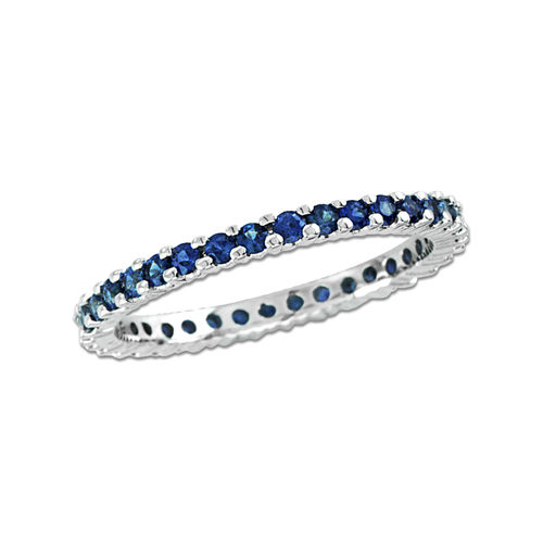 14kt White Gold .80 ct tw Sapphire Eternity Wedding Band