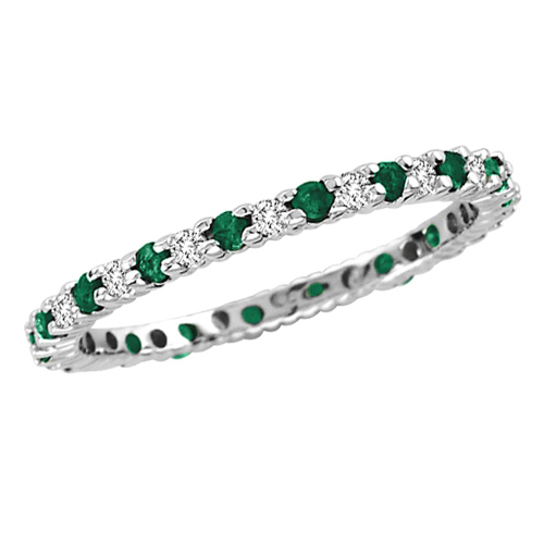 14kt White Gold .30 ct tw Emerald Eternity Wedding Band with .25 ct tw Diamonds