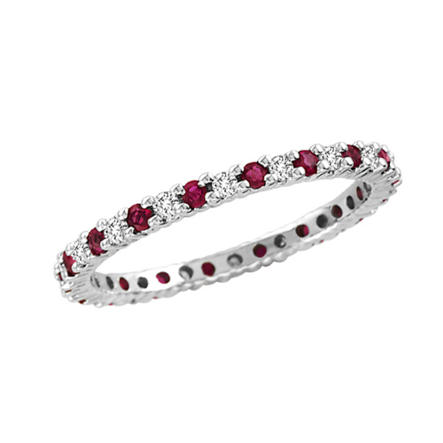 14kt White Gold .30 ct tw Ruby Eternity Wedding Band with .25 ct tw Diamonds