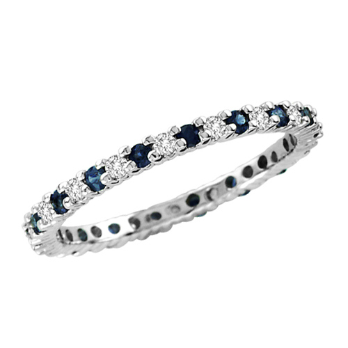 14kt White Gold Sapphire Eternity Wedding Band with Diamonds