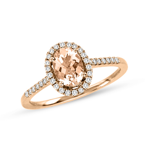 14kt Rose Gold 3/4 ct Morganite Ring with 1/4 ct  Diamond Accents