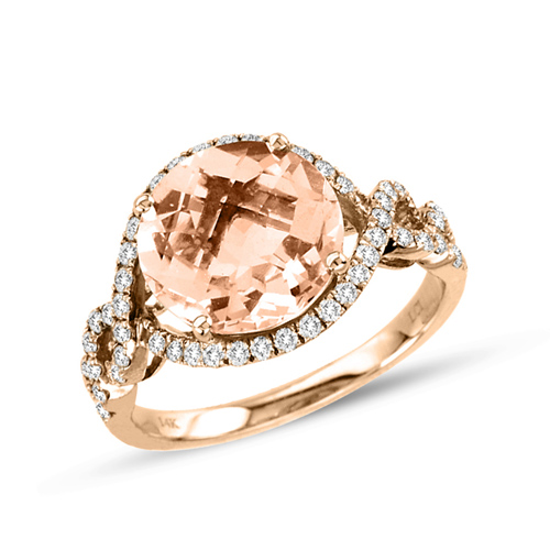 14kt Rose Gold 3.3 ct Morganite Ring with .47 ct  Diamond Accents