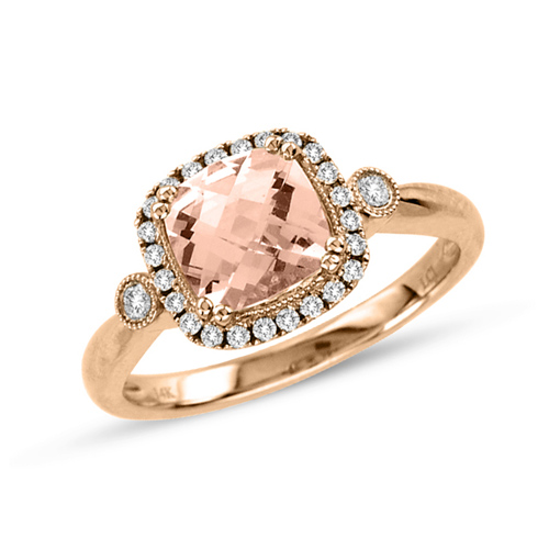 14kt Rose Gold 1.2 ct Morganite Ring with .18 ct  Diamond Accents