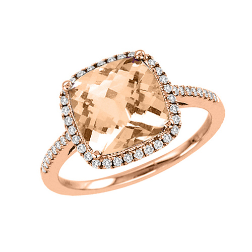 14kt Rose Gold 2.4 ct Morganite Ring with .23 ct  Diamond Accents