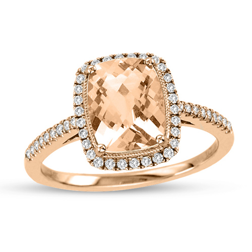 14kt Rose Gold 1.7 ct Morganite Ring with .22 ct  Diamond Accents