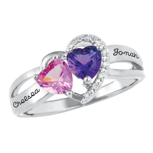 Coupled Hearts Promise Ring Gold