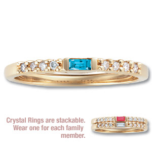 Crystal Stackable Ring with Diamond Accents