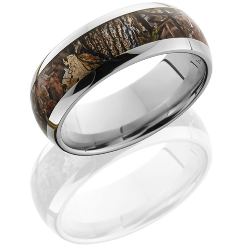 14kt White Gold 8mm King's Woodland Shadow Camo Ring