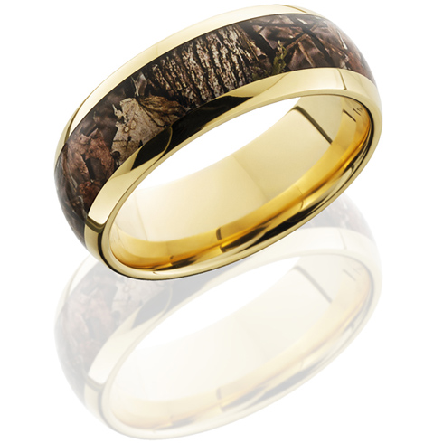 8mm 14kt Yellow Gold King's Woodland Shadow Camo Ring