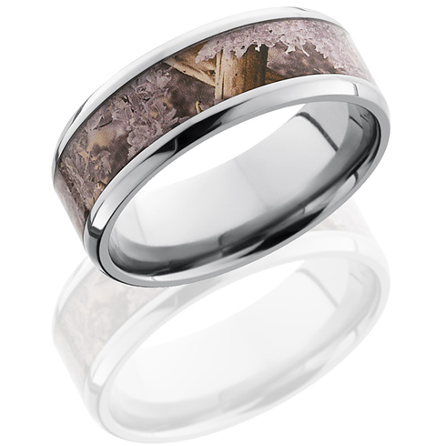 8mm Titanium King's Desert Shadow Camo Ring with Beveled Edges