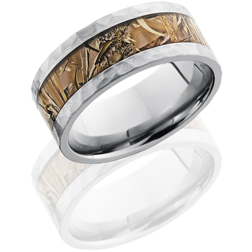 9mm Titanium King's Field Shadow Camo Ring with Hammered Finish
