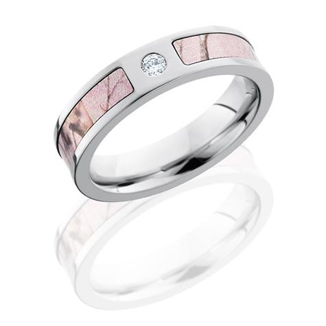 5mm Realtree Cobalt Chrome Pink Camo Ring With Diamond CC5FSPRTAPD