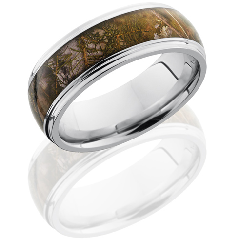 8mm Cobalt Chrome King's Mountain Shadow Camo Ring with Grooved Edges