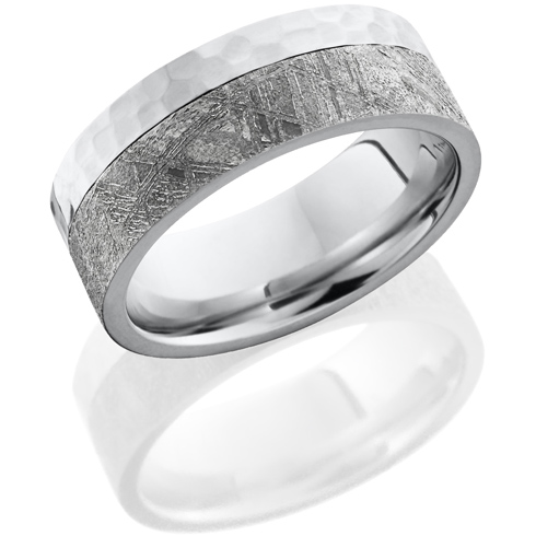 Cobalt Chrome 8mm Meteorite Ring with Hammer Finish
