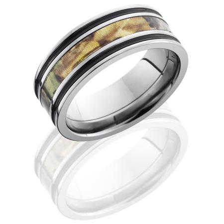 8mm Mossy Oak Titanium Camo Ring with Black Enamel