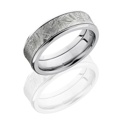 Titanium 7mm Concave Meteorite Ring with Beveled Edges