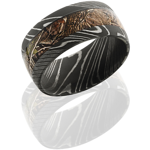 10mm Damascus Steel King's Woodland Shadow Camo Ring with Acid Finish