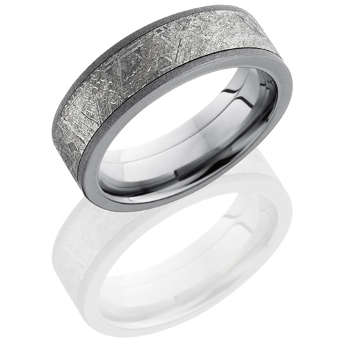 Titanium 7mm Meteorite Ring with Sandblast Finish