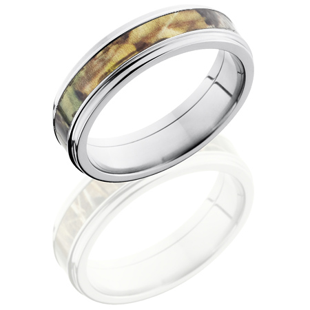 6mm Mossy Oak Titanium Camo Ring with Grooved Edges