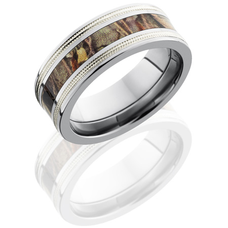 8mm Realtree Titanium Camo Ring with Sterling Silver Milgrain Edges