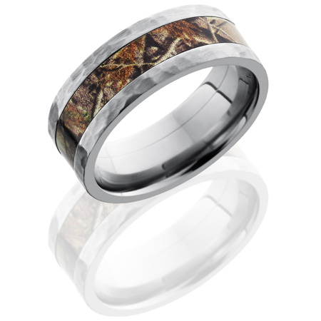 8mm Realtree Titanium Camo Ring with Hammered Finish