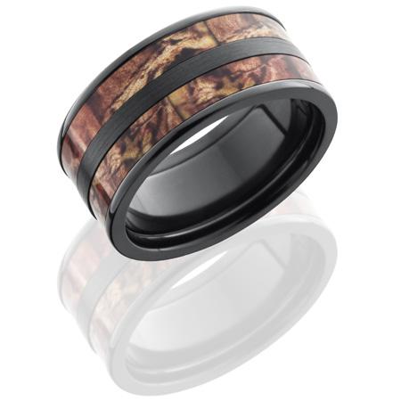 10mm Black Zirconium Titanium Camo Ring with Split Inlay