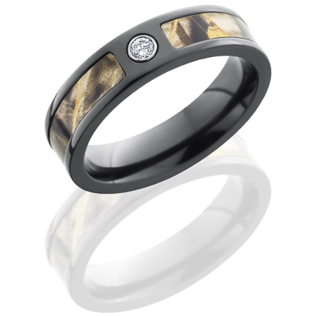 5mm Realtree Black Zirconium Camo Ring with Diamond