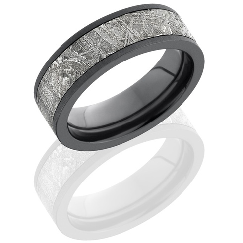 Black Zirconium 7mm Meteorite Ring with Cross Satin Finish