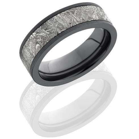 Black Zirconium 7mm Meteorite Ring with Cross Satin Finish