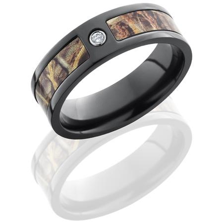 7mm Realtree Black Zirconium Camo Ring with Diamond