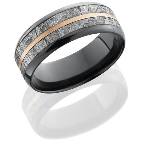Black Zirconium 8mm Meteorite Ring with 14kt Rose Gold