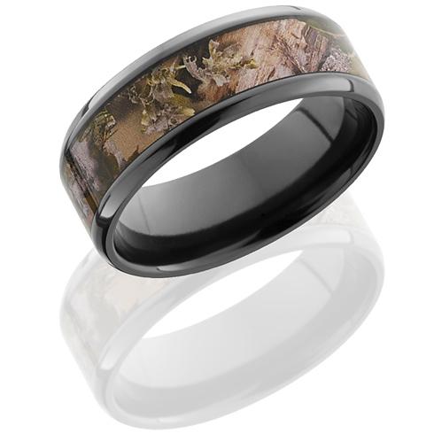 Black Zirconium 8mm King's Mountain Shadow Camo Ring Beveled Edges