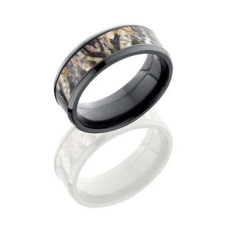 Mossy Oak Black Zirconium 8mm Camo Ring