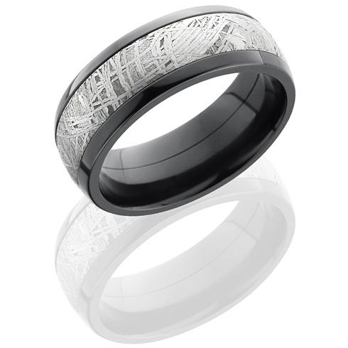 Black Zirconium 8mm Meteorite Ring with Cross Satin Finish