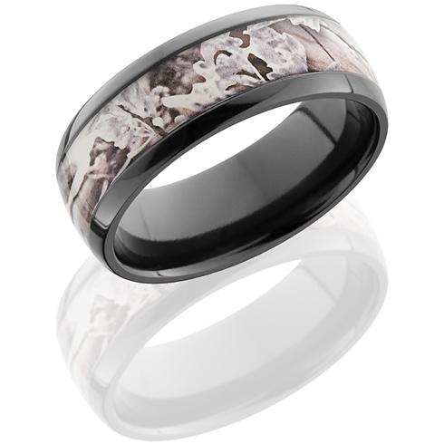 8mm Black Zirconium King's Snow Shadow Camo Ring
